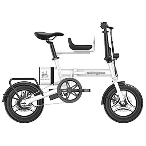 ZXQZ Bicicletas Eléctricas de Montaña para Adultos Bicicleta Eléctrica de 14 '', Bicicleta Eléctrica con Ciclo de Ciclomotor con Batería de Litio Extraíble de 7.8Ah (Color : White)