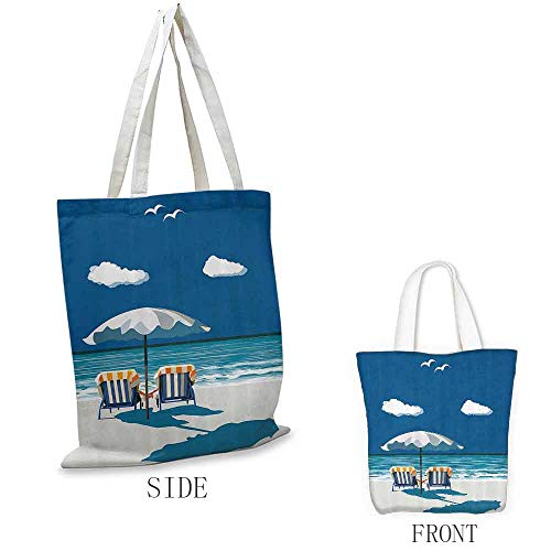 "Merchandise Bags, Foldable Coastal Couple on Deck Chairs Beach Holding Hands Umbrella Romance Sea Vacation, 16.5""x13.8""x6.3"" Blue White Light Blue"
