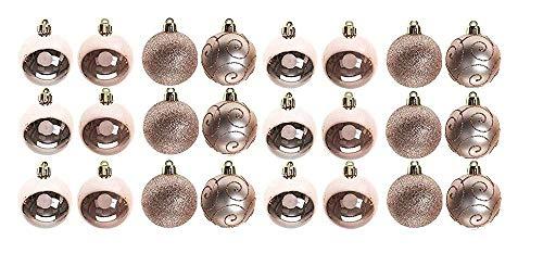 Set di 24 palline di Natale da 6 cm in PVC in scatola, colore oro rosa