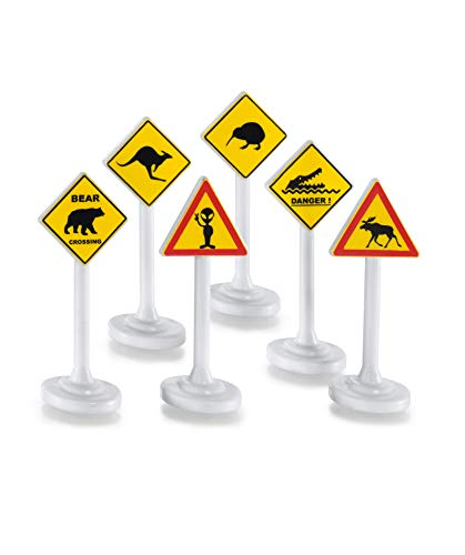 Siku 0894, Internationale Verkehrszeichen, Kunststoff, Gelb/Weiß, 6 Schilder, Vielseitig einsetzbar