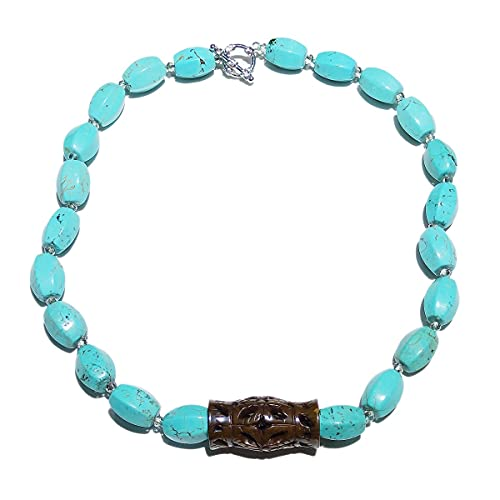 YUNHE Turquesas Cristal marrón jades Tallado Colgante Collar Azul Gargantilla Collar 56Cm / 22 '' Mujeres joyería Regalo Venta de existencias