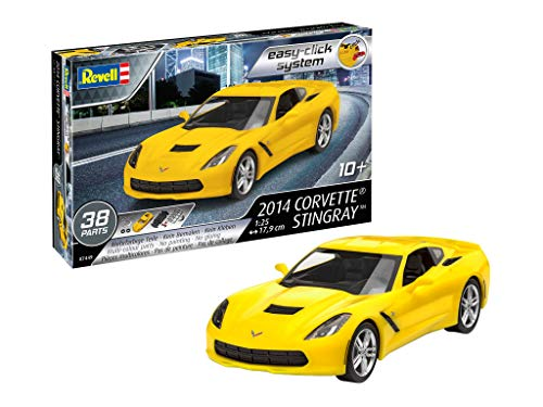 Revell 7449 07049 7049 1:25 (Easy-Click) Plastic Model Kit 07449 2014 Corvette Stingray, Mehrfarbig, 1/25