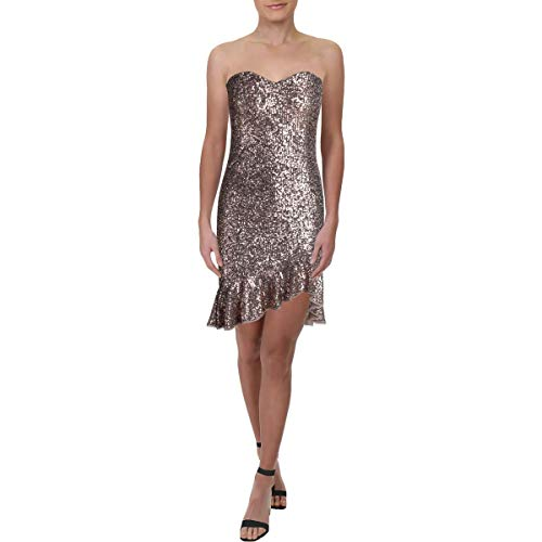 Price comparison product image Aidan by Aidan Mattox Womens Sequined Ruffled Cocktail Dress Gold 4