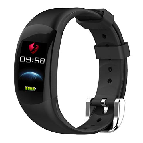 YWYU Smart Watch LEMFO LT02 Smart Band 2 IP68 Impermeable Bluetooth Fitness Pulsera Charm Hombre Mujer Pulsera Relojes para Xiaomi Mi Wrist Band Reloj GPS Incorporado para iOS Android (Color : Negro)