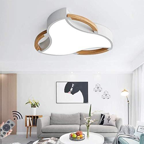 Dimbare led-plafondlamp met afstandsbediening, rond, Macaron solide plafondlamp van hout plafondspot eetkamer voor slaapkamer woonkamer keuken 60CM