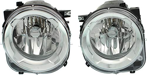 Headlight Compatible For 2015-2017 Jeep Renegade Left Driver and Right Passenger Halogen With bulb(s)