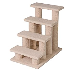 Good Life 25″ 4 Steps Pet Stairs Carpeted Ladder Ramp Cats Scratching Post Cat Tree Climber for Cat Small Dogs Beige