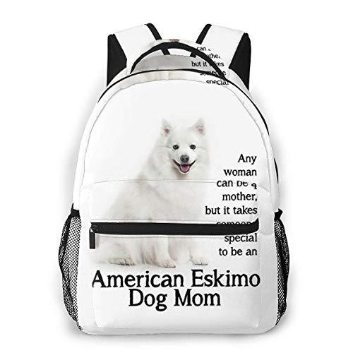 LNLN lässiger Rucksack grünLesmus American Eskimo Dog Mom Casual Backpack Waterproof Computer Bag School Bag Travel Bag