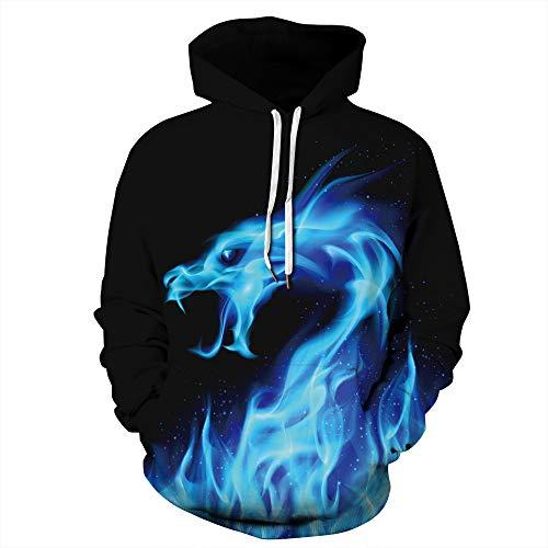 LUOYLYM New Ice Fire Dragon Digitaldruck Shirt Männer und Frauen tragen Herbst und Winter Langarm-Kapuzenpullover lose Paar QYXH115 XXXL