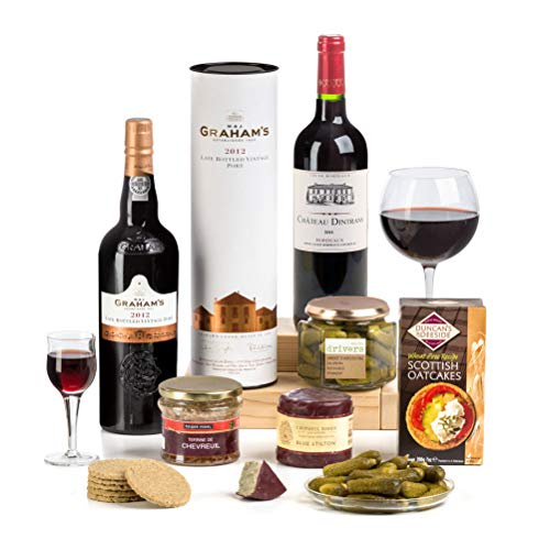 Hay Hampers Claret, Vintage Port, Stilton & Pate Christmas Hamper in gift box - FREE UK Delivery