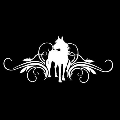 LJMING Et Cheval Vinyle Scrolling Mode Autocollant de Voiture Voiture décoratifs Porte Styling Decal Noir/Argent 2pcs,White-30 * 12.9CM