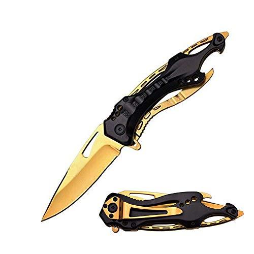 Promithi Outdoor-Klappmesser Taschenmesser Camping Multi-Funktions Einhandmesser Scharf Jagdmesser Outdoormesser Edelstahlmesser Angelmesser