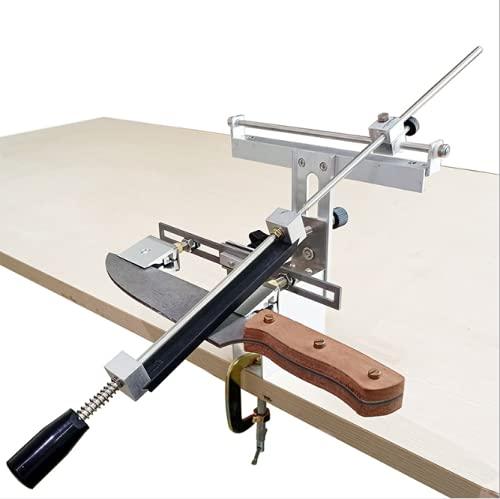 KKTECT Afilador de cuchillos 360 ° Mandril doble de ángulo fijo de rotación Herramienta de afilado profesional Juego de herramientas de afilado de cocina 4 * piedras de afilado de diamantes