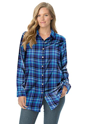 Woman Within Women's Plus Size Classic Flannel Shirt - 2X, Bright Cobalt Plaid