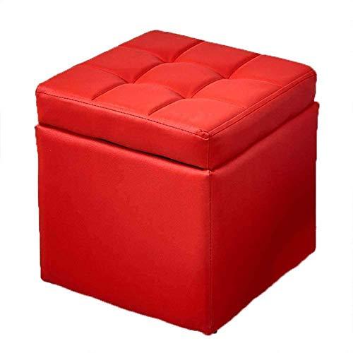 GCE Otomanas con Cubo de Almacenamiento reposapiés de Cuero reposapiés portátil Asiento tapizado Acolchado reposapiés para Sala de Estar (Color: Rojo)
