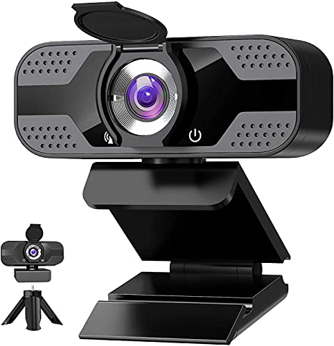 Webcam with Microphone for Desktop, 1080P HD USB Computer Cameras with Privacy Cover&Webcam Tripod, Streaming Webcam with Flexible Rotatable Wide Angle Webcam for PC Zoom Video Gaming Laptop Skype