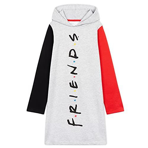 Friends Merchandising, Sudadera Niña, Vestidos Sudadera, Sudaderas con Capucha, Regalos para Niñas y Adolescentes Edad 7-15 Años (13-14 años, Gris)