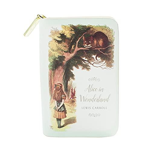 Alice im Wunderland buchinspiriertes Portemonnaie mit Rundum-Reißverschluss für Literaturliebhaber von Well Read - Veganes Kunstleder Clutch Geldbörse Damen