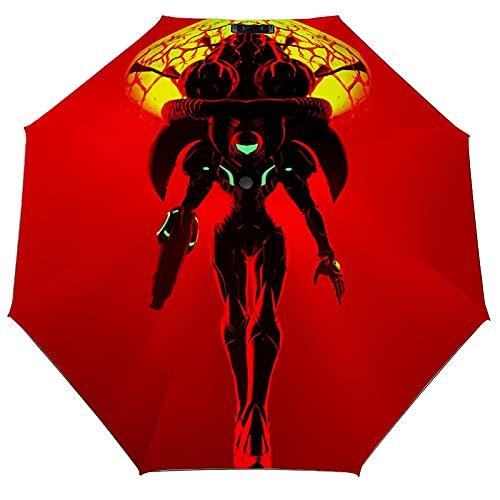 METROID paraguas totalmente automático de viaje plegable antiultravioleta, resistente, duradero, sombreado al sol, a prueba de lluvia, vinilo a la moda