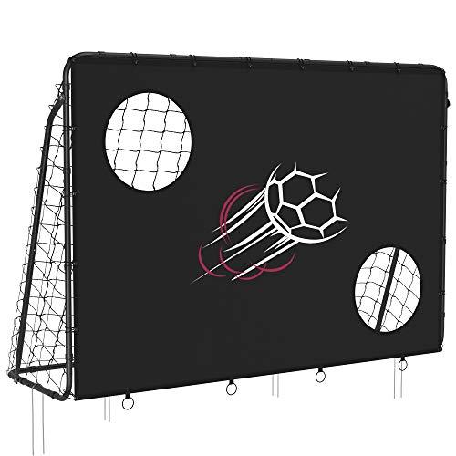 SONGMICS Fußballtor für Kinder, mit Torwand, schnelle Montage, Garten, Park, Strand, Eisenrohre und PE-Netz, schwarz SZQ215B02