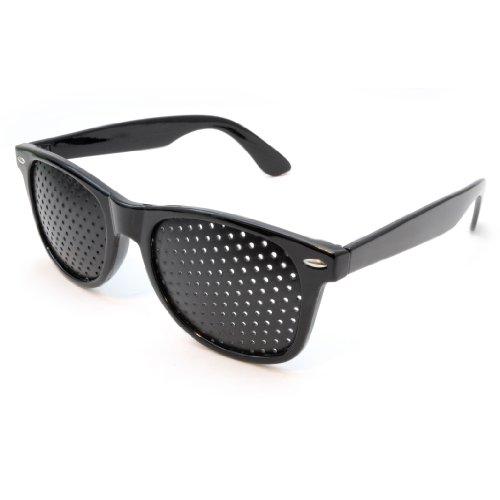 Raster-Brille/Loch-Brille für Augen-Training und Entspannung, Gitter-Brille mit faltbaren Bügeln, Form B, Farbe: schwarz