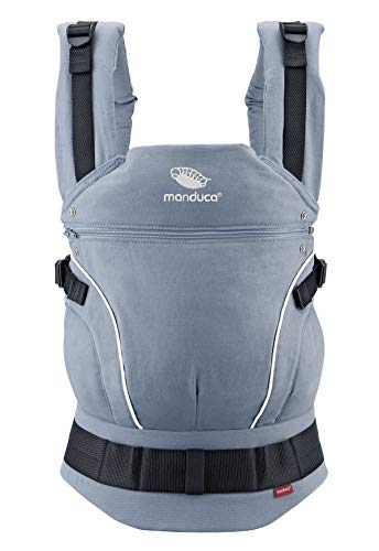 manduca Babytrage First > Pure Cotton Skyblue < Ergonomische Babytrage in Bio-Qualität (Leichter Canvas aus Bio-Baumwolle, Soft & Fusselfrei) für Babys & Kinder bis 20kg, hellblau
