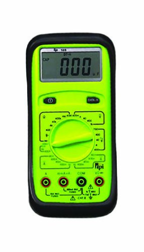 TPI 135 Manual-Ranging, Average-Sensing Digital Multimeter with Protective Boot, 750VAC, 1000VDC, 10 Amp, 40 Megaohms, 20,000 Microfarads