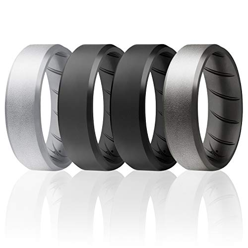 ROQ Silicone Rings, Breathable Silicone Rubber Wedding Ring Band for Men with Comfort-Fit Design, 8mm Beveled Edge, 4 Pack, Silicone Wedding Ring - Black, Grey, Silver Colors - Size 7