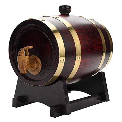 Roble barril de vino del barril del whisky retro dispensador Inicio del barril de vino for el vino, licores, cerveza y licor retro del barril del whisky (con tostado de roble chips) ( Size : 5L )