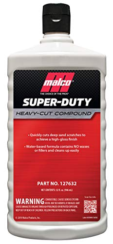 Malco Super Duty Heavy Cut Compound - Professional Cutting, Polishing and Finishing Compound/For Auto Paint Correction, Detailing and Buffing / 32 oz. (127632)