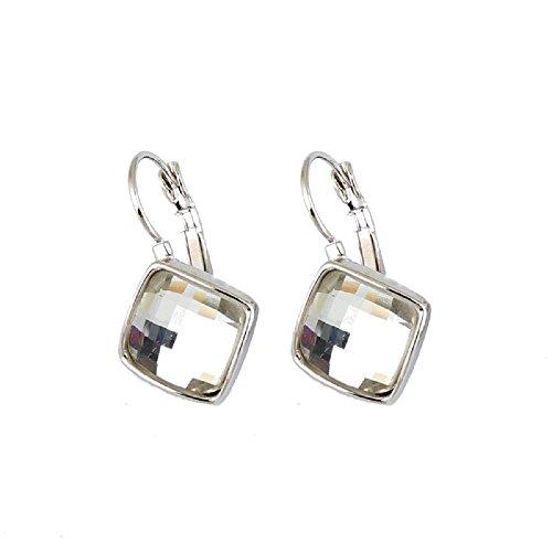 Crystals from Swarovski Bianco Rombo Quadrato Orecchini pendenti Monachella 18 kt placcato oro bianco per donne