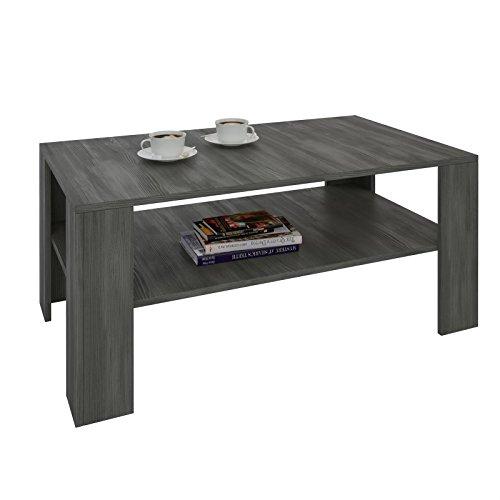 CARO-Möbel Couchtisch Wohnzimmertisch ANIMO in Esche grau mit Ablage, 100 x 60 cm