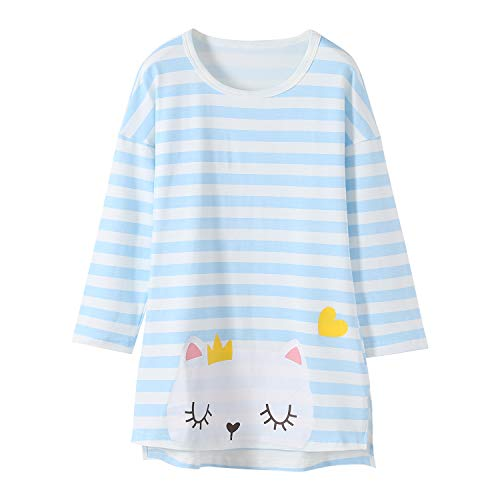 Katze Nachthemden für Mädchen Langarm Kinder Schlafanzüge Rundkragen Blau 6 Jahre
