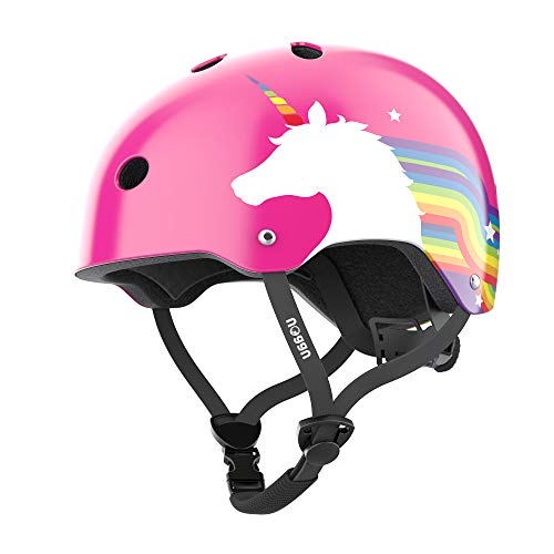 Noggn Rainbow Unicorn Helmet for Kids and Infant, Baby | Two Sizes: X-Small for 1-4 Years and Small for 5-14 Years | Child, Girls, Bike, Bicycle, Scooter & Skateboard Helmet (Small, Pink)