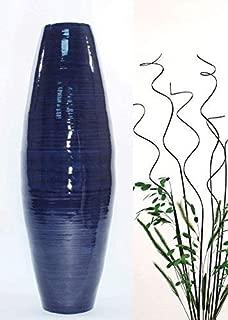 Green Floral Crafts | 27'' Bamboo Cylinder Floor Vase | Dark Blue