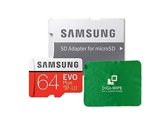 Digi Wipe, scheda di memoria Micro-SD EVO Plus da 64 GB per cellulari Samsung S7, S7Plus, S8, S8Plus, S9, S9Plus. Include un panno in microfibra per pulirla