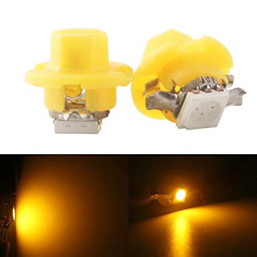 Qasim 20Pcs T5 B8.4 5050-1SMD Neo Wedge LED Cluster Instrument Panel Dash Gauge Light Bulbs Amber 12V