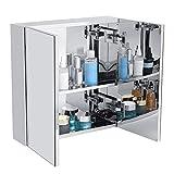 Armario de baño, espejo de montaje en pared de acero inoxidable doble puerta armario moderno armario de almacenamiento organización para dormitorio, baño, cocina y otras ocasiones