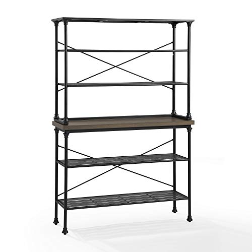 Crosley Furniture Madeleine 48″ Farmhouse Metal Baker's Rack in Brown/Black
