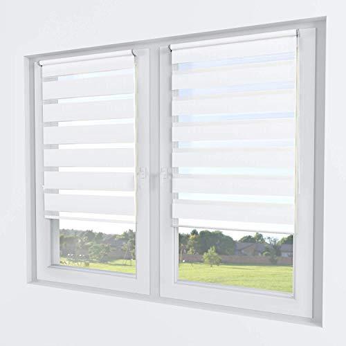 Rollmayer Doppelrollo Klemmfix ohne Bohren Klemmrollo Fensterrollo Duo Rollo Sonnenschutzrollo Zebrarollo Seitenzugrollo für Fenster (Weiß - 130 x 150 cm - BxH)