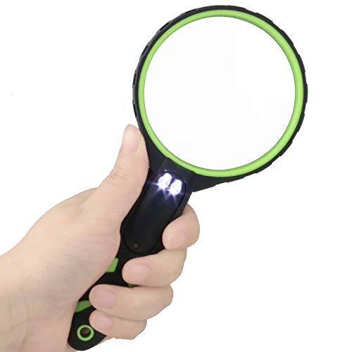 DANDELION 拡大鏡 手持ちルーペ 拡大鏡 LEDライト付 読書ルーペ 虫眼鏡 光学グレード4倍 ハンドヘルド高齢者子供虫眼鏡