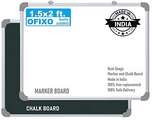 OFIXO Non Magnetic 1.5x2 Feet Double Sided White Board and Chalk Board Both Side Writing Boards, one Side White Marker and Reverse Side Chalk Board Surface - Pack of 1