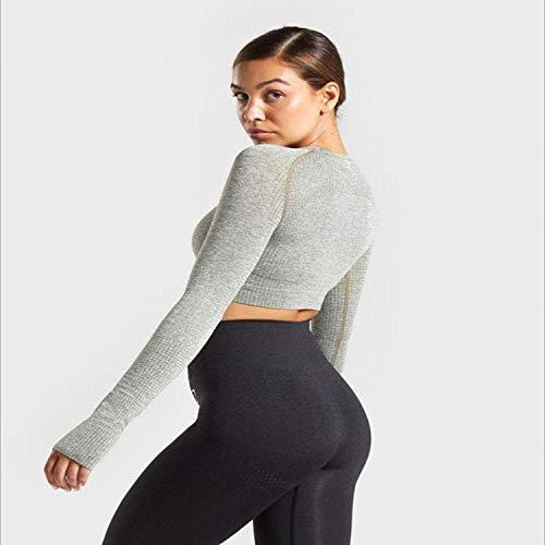 RRUI Panty voor dames, leggings voor yoga, gebreid, naadloos, herfst en winter, spandex, fitness, dames, yoga-pak, groen, maat M