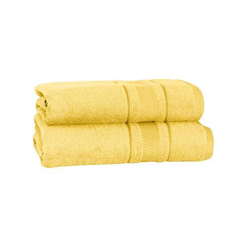 Mixibaby 2 piezas. Juego de toallas (1 toalla de ducha de 70 x 140 cm, 1 toalla de mano de 50 x 100 velas, 100% algodón), color amarillo