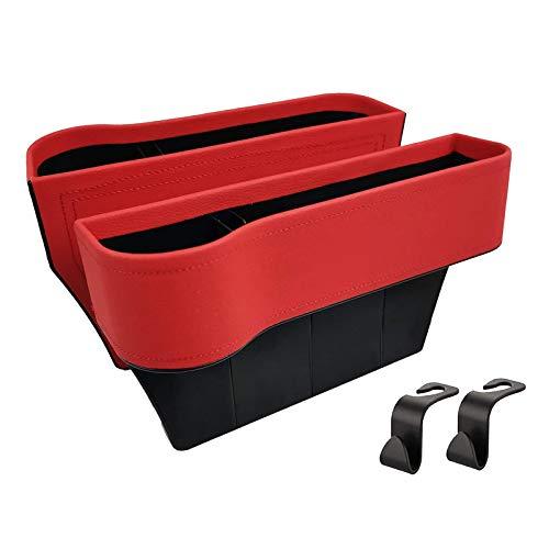 Blesiya 2 paquetes de relleno de huecos de asiento de coche organizador de huecos de asiento delantero de coche con soporte de taza organizador de asiento de - Rojo
