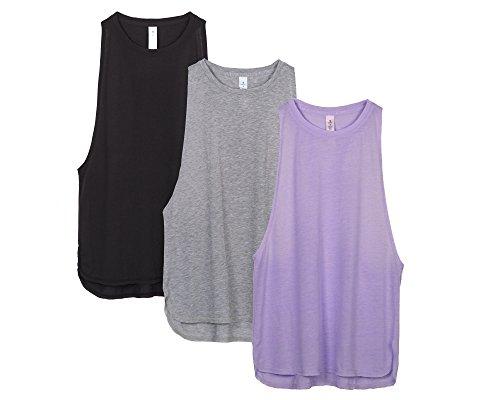 Icyzone Sciolto E Tempo Libero Canotta Da Donna Per Yoga Fitness, Racerback Tank Top(Pacco Da 3) (S, Black/Grey/Lavender)