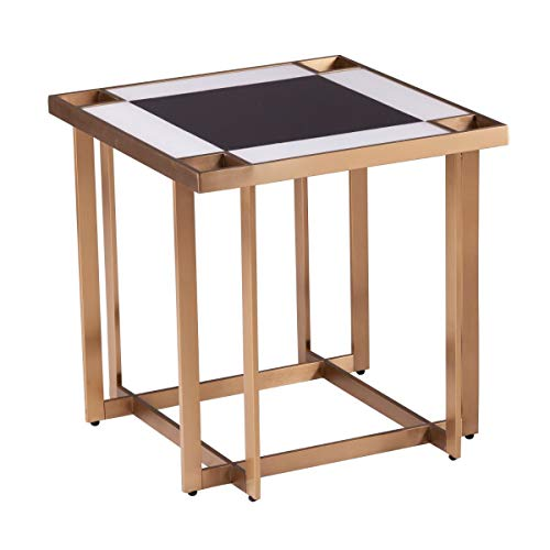 """CC Home Furnishings 20"""" Gold and White Geometric Square End Table"""