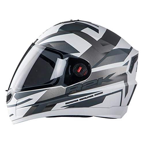 Steelbird SBA-1 R2K Full Face Graphics Helmet in Matt Finish with Smoke Visor (Large 600 MM, Matt White with Grey)
