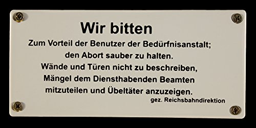 Buddel-Bini Emaille Schild Bedürfnisanstalt 17,5x8 cm Eisenbahnschild Toilette WC