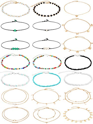 21 Pieces Boho Beaded Choker Necklaces Bohemian Butterfly Bead Choker Colorful Beach Chain Necklace Jewelry